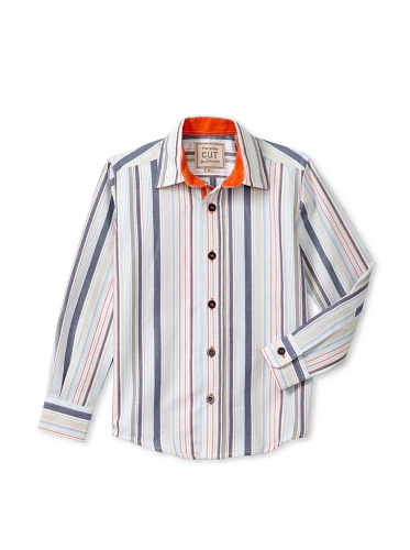CUT By 2 Blondes Boys Sticks And Stones Long-Sleeve Button-Up (Blue/Tan/Orange Stripe)