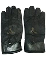 Graceway Unisex Leather Bike Gloves (5G35, Black)