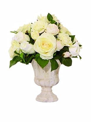 Lux-Art Silks Cream Rose Stone Urn (Cream)
