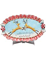Appletree Design Wild Wonder Winderland Collection, Two Deer Serving Platter, 18-1/2-Inch Long