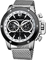Akribos XXIV Men's AK515SSB Conqueror Swiss Multifunction Black Dial Silver-tone Stainless Steel Mesh Bracelet Watch