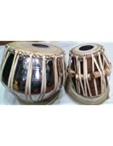 Handmade Brass with Nickle Polish Bayan and Sheesham Wood Dayan Tabla Drum Set By Best Indian Professionals with Base, Cover and Hammer- completely hand roped