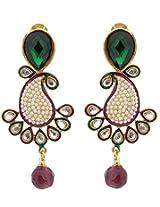 Hyderabadi Abhushan mango shaped earrings with green stones