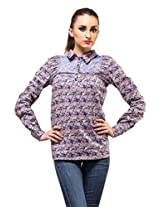 Full Sleeve Pleated Top - Blue Floral Print