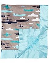 My Blankee Aviator Minky Grey w/ Minky Dot Topaz Baby Blanket, 30