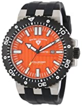 Swiss Legend Men's 10126-06-BB Challenger Orange Textured Dial Black Silicone Watch
