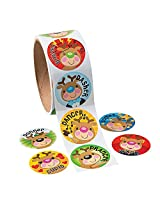 Christmas Reindeer Face Roll Stickers (100 Stickers Per Roll)