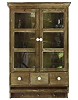 Urban Trends Wooden/Glass Wall Mount Cabinet with 2 Doors 3-Tiers and 3 Hooks, Natural Wood Finish