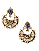 Glowing pearl earring with glittering ad stone hand-made indian jewelryABEA0334BL
