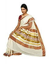 Atex Cotton Saree with Blouse (5184_Ivory)