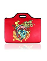 Cellalure CALAPF3-0603 Laptop Sleeve with Skull Graphic Compatible with 15.4-Inch Laptop (Red)