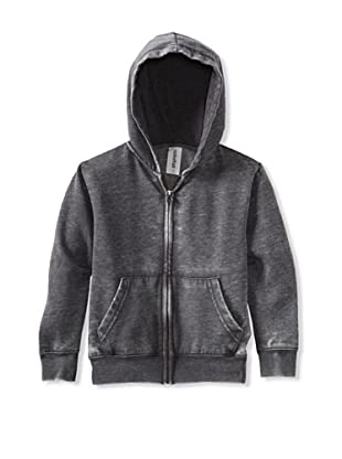Colorfast Apparel Boy's Burnout Zip Hoodie (Charcoal)