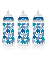 NUK Fashion Orthodontic Bottle, Blue Elephants, Boy, 10 Ounce, 3-Count