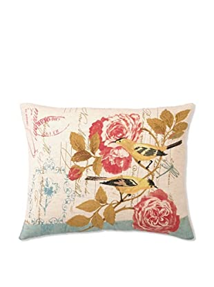 """Kathryn White Floral with Birds on Aqua Pillow, 14"""" x 18"""""""