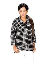 TrendBAE Big Check Trendy Black Polyester Shirt