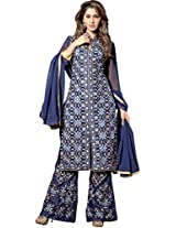 Dark Blue Colour Foux Georgette Party Wear Heavy Abstract Zari Thread Embroidery Plazo Suit 1006
