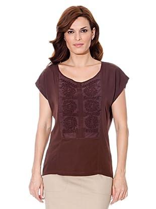 Cortefiel Camiseta Bordada (Marrón)