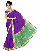 Somya Women's Semi Chiffon Embroidery Saree