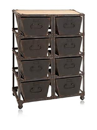Metal & Wood Cabinet, Dark Brown