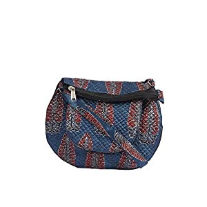 EthnicShack Blue Mushroo Ajrakh Printed Cross Body Bag