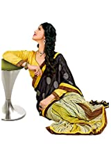 Riti Riwaz Yellow & Black Georgette Lace Border Casual Saree with Unstitched Blouse SDG5006B