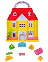 Doll House With Furniture - Yellow