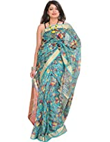 Exotic India Blue-Curacao Digital-Printed Saree from Purvanchal with Wove - Blue