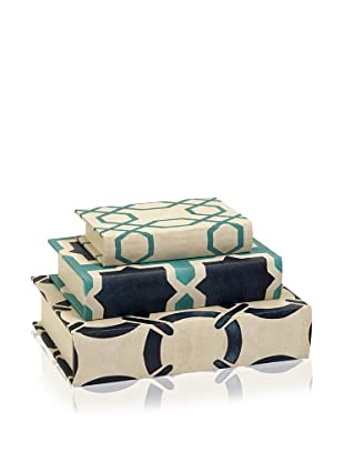 Set of 3 Hadley Book Boxes (Crème/Blue)