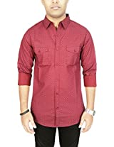 AA' Southbay Men's Maroon 100% Cotton Printed Long Sleeve Casual Shirt with 2 Flap Pockets