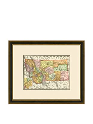 Antique Lithographic Map of Montana, 1886-1899