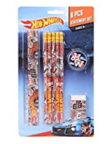 Mattel Hot Wheels Stationery Set, Multi Color (8 Pieces)