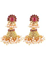 1 Gram Gold Plated Traditional South Indian Jhumka With Pearl Droplets And Red Stone
