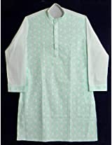 DollsofIndia Green Embroidered White Kurta - Cotton - White