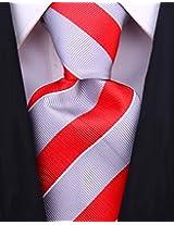 Scott Allan Men's College Striped Necktie - Gray/Red