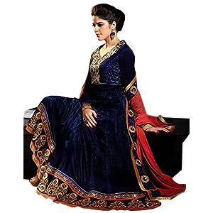 Royal Blue Velvet Sartin Viscose Georgette with Santoon Bottom & Bemberg Dupatta With Embroidery & Hand work Anarkali Salwar Kameez Suit