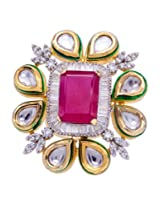 Sheetal Creations Rangoli design multi-colour finger ring studded with white and pink stones and American diamond for Women (0053-SCFR)