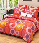 Home Candy Circles Cotton Double Bedsheet with 2 Pillow Covers - Multicolor (CTN-BST-276)