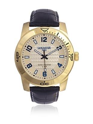 Lancaster Uhr Timeleader Leather yellow gold/blue Ø 44