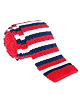 "Retreez Elegant Three Colors Stripes Men's 2.4"" Skinny Knit Tie - Navy Blue and Red and Cream"