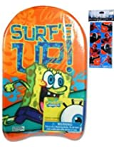Spongebob Squarepants Toys Kickboard for Swimming (17 x10 ) and Spider Man Stickers (3 x6 - 4 Sheets - $3.99 Value) -Spongebob Swimwear Water Toys for toddlers or kids Spongebob Party Supplies and Party Favors for Birthday Floatation Devices Use with Floatation Swim Trainer Life Jackets for Kids with Favorite Disney Princess or Marvel or Nicktoons Toys Cartoon Characters N