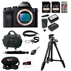Sony ILCE7/B ILCE-7B ILCE7B 24.3 MP a7 Full-Frame Interchangeable Digital Lens Camera (Body Only) with Two Sony 64GB SD Card + Replacement NP-FW50 Two Batteries and Charger + Accessory Kit