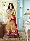 Fabulous Juhi Chawla Cream Georgette Floor Length Anarkali Suit