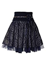 Cutecumber Girls Polyester Embellished Navy Knee Length Skirt