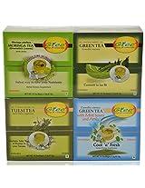 GTEE Moringa Tea Bags & Tulsi Tea Bags & Green Tea Bags - Regular & Green Tea Bags-Mints (10 Tea Bags X 4 PACKS)