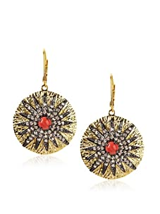 CZ by Kenneth Jay Lane Starburst Earrings, Gold/Coral