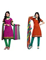 Kanheyas Pack of 2 Cotton Dress Materials With Chiffon Dupatta Combo 4