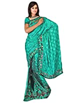 Sehgall Saree Indian Ethnic Professional Polka dot Rasgulla Fabrics with Fancy Embroidery