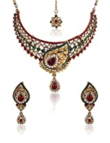 Latest Designer Choker Kundan & Austrian Diamond Studded Necklace Set with Mang Tika For Women