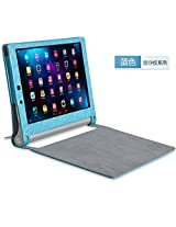 Best Deals - High Quality Leather Lenovo Yoga 2 Tablet 10 inches 1050L 1050F Flip Cover - Blue