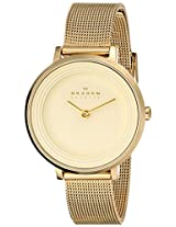 Skagen End-of-Season Ditte Analog Gold Dial Women's Watch - SKW2212